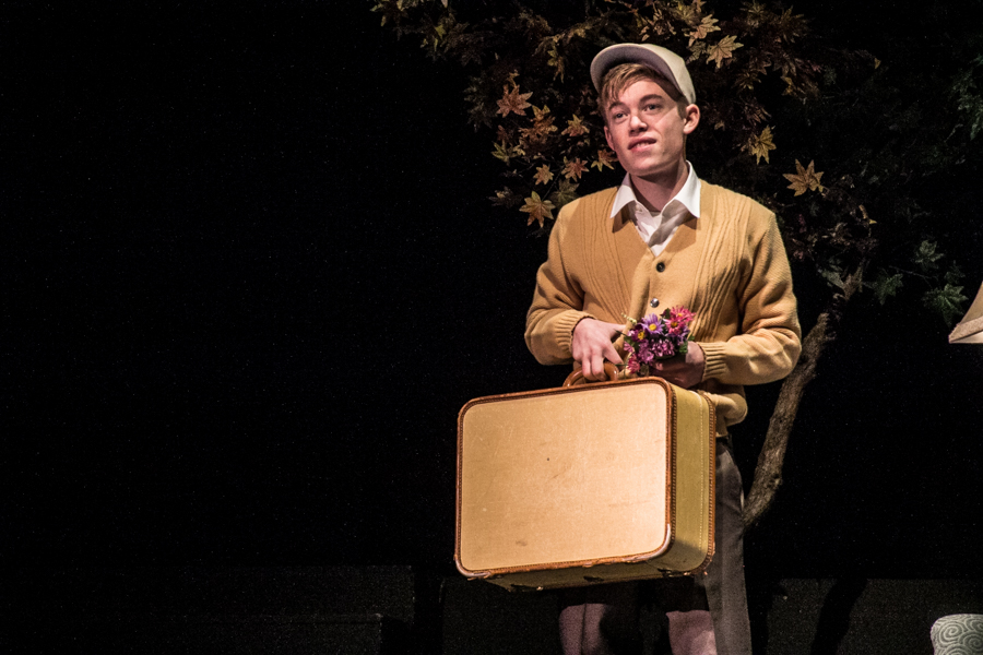 """Nick Apostolina as Charlie on stage at Fullerton's Plummer Auditorium performing """"Flowers for Algernon."""" (Photo Courtesy Kathy Flynn/Wicked Goddess Photography)"""