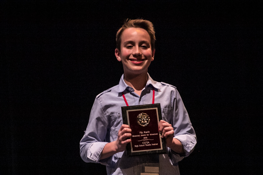 """JBHS sophomore Chris Spencer with his award for Best Dramatic Use of Movement for his role as Little Charlie in """"Flowers For Algernon."""" (Photo Courtesy Kathy Flynn/Wicked Goddess Photography)"""