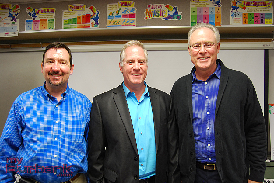 (from left to right) Burbank High School Music teacher Michael Stanley, Jordan Middle School Band Director Dr. John Whitener and Elementary Music teacher Steven Hollis. (Photo By Lisa Paredes)