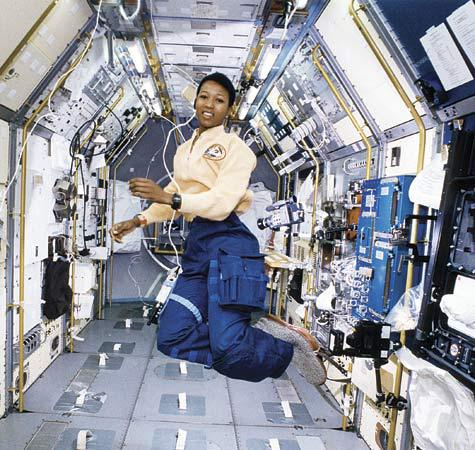 Dr. Mae Jemison, Science Mission Specialist, aboard the space shuttle Endeavour. (Photo Courtesy of the National Aeronautics and Space Administration)
