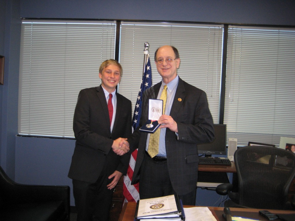 Burroughs senior Griffin Armstorff receives the Congressional Award Silver Medal from Congressman Brad Sherman. (Photo Courtesy of the Armstorff Family)