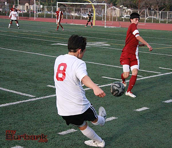 Josh Sanchez fires a shot towards the Arcadia goal (Photo by Dick Dornan)