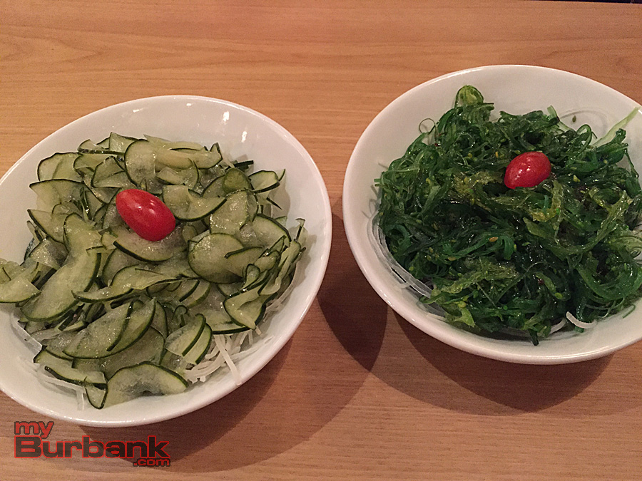 Cucumber salad and seaweed salad are excellent sides at Kopan Ramen 2. (Photo By Lisa Paredes)