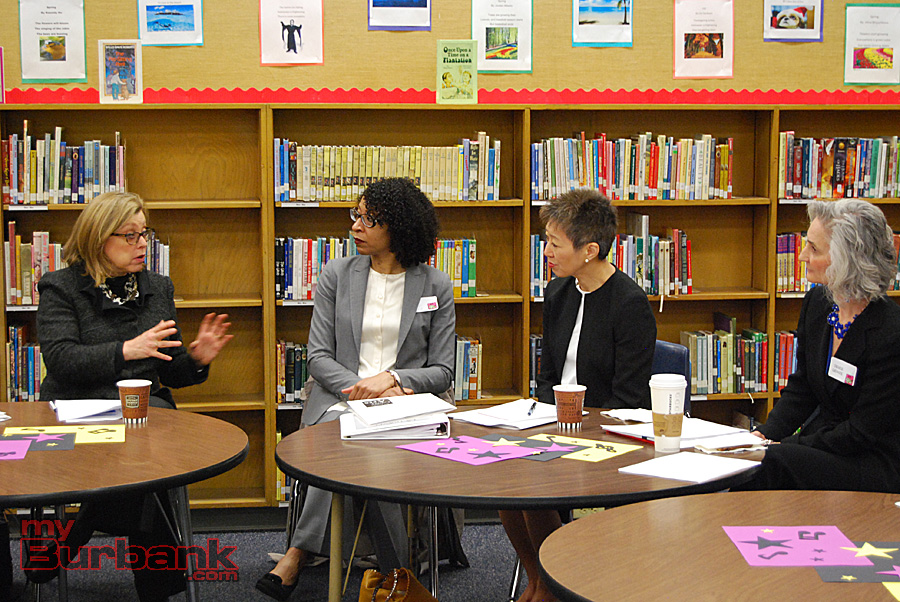 (from left to right) L.A. County Arts Commission Executive Director Laura Zucker talks with NEA Arts Education Director Ayanna Hudson, NEA Chairman Jane Chu and L.A. County Arts Commission Director of Arts Education Denise Grande. (Photo By Lisa Paredes)