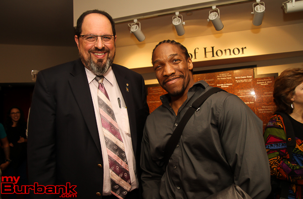 Burbank Mayor David Gordon with Panelist Darnell Isom. (Photo by Ross A. Benson)