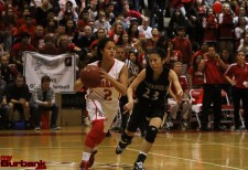 Delaney Nicol looks up floor for the Lady Indians (Photo by Ross A. Benson)