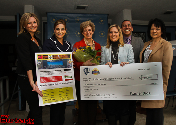 Jordan ARTS committee members joined together to accept the matching $10,000 donation from Warner Bros Monday afternoon. Pictured Suzanne Weerts, Gema Sanchez, Lisa Rawlins, Stacy Cashman, Dr. John Paramo and Sharon Cuseo. (Photo by Ross A. Benson)