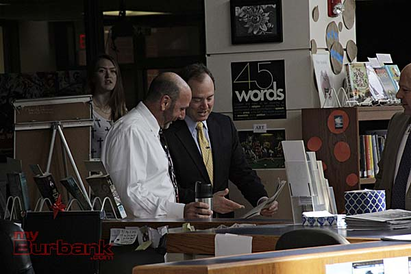 Richard Sarquiz Talks With Schiff (Photo By Edward Tovmassian)