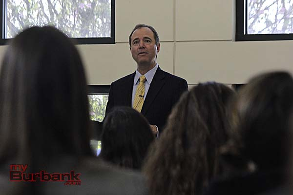 The Congressman addresses students (Photo By Edward Tovmassian)