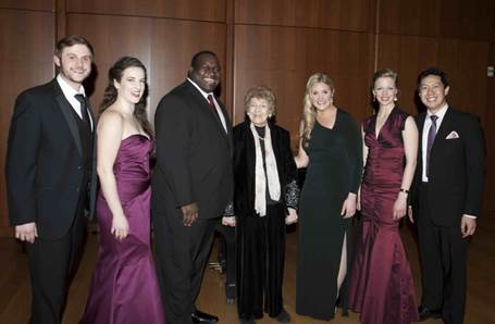 George London Foundation President Nora London (center) with 2015 George London Award winners (left to right) Michael Brandenburg, Sarah Mesko, Reginald Smith, Jr., Julie Adams, Julia Dawson and Adam Lau.  (Photo Courtesy Shawn Ehlers)
