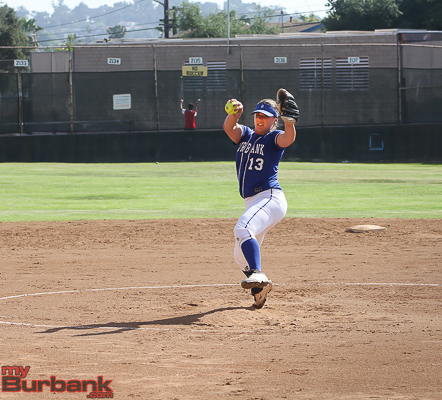 Caitlyn Brooks is having an All-American season in the circle and at the plate (Photo by Ross A. Benson)