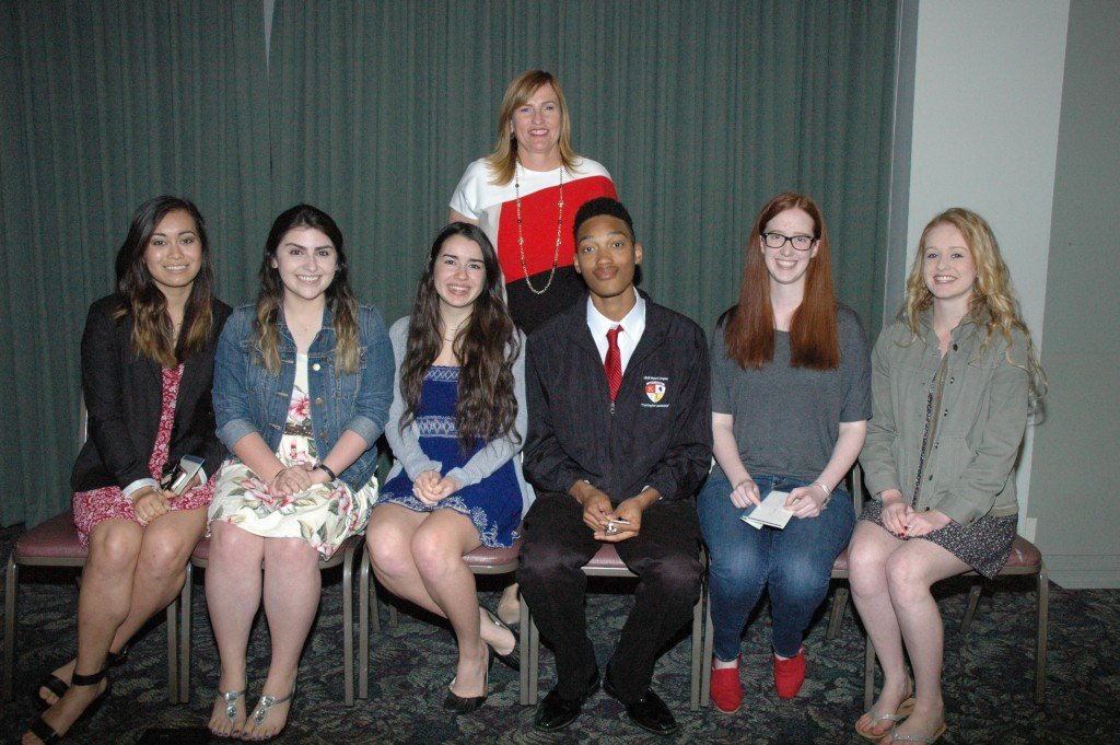 Students from John Burroughs High School receiving scholarships from the Burbank Assn. of Realtors' Community Services Foundation are, from left, Madeline Aragon, Francesca Florindez, Lili Hooshivar, Davonte Matthews, Hannah Mersch and Elizabeth Gunn with Principal Deborah Madrigal. (Photos by Joyce Rudolph)
