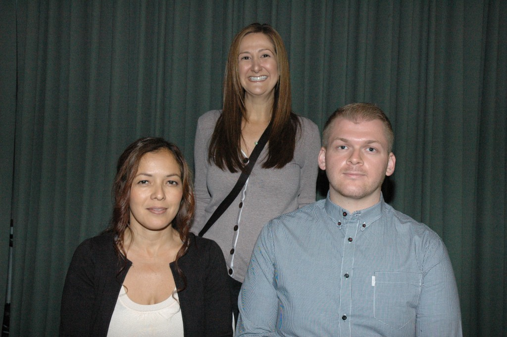 Also receiving scholarships from the Burbank Assn. of Realtors' Community Services Foundation are, from left, Araceli Najar, who received the Burbank Adult School scholarship, and Robert Ristine, who received the Ray and Bonnie Adams scholarship, with Julie Grair, Adult School counselor.