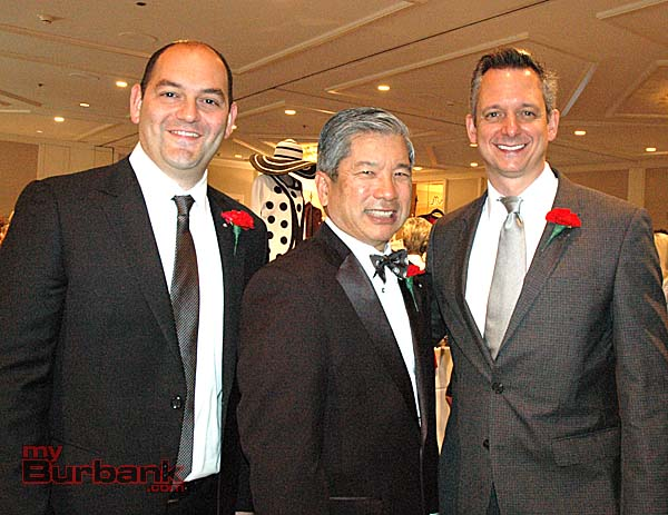 Doctors who were guest models at the Providence St. Joseph Medical Center Guild fashion show are, from left, Shahan Yacoubian, David Sato and Nick Testa, Providence chief medical officer. (Photos by Joyce Rudolph)