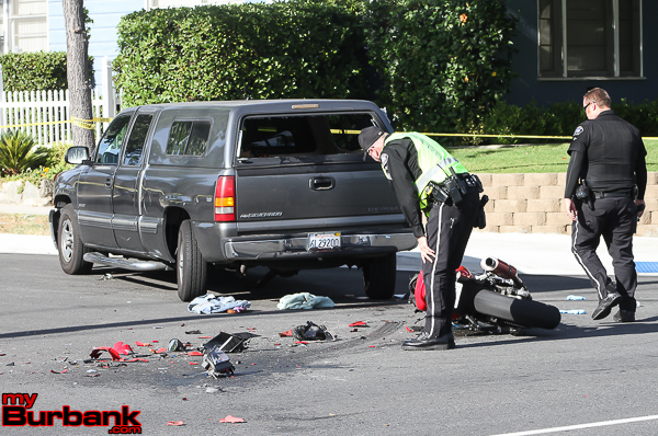 Burbank Police Traffic Officers investigates this motorcycle vs pickup truck accident that occurred Wednesday afternoon at Griffith Park and Victory Blvd. The motorcycle rider was transported to LA County USC Medical Center with serious injuries. (Photo by Ross A. Benson)