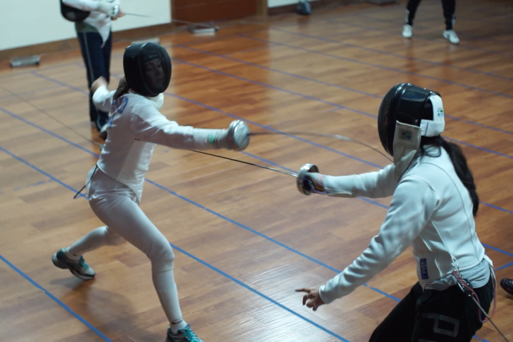 Emily Beihold fencing Sorah Shin at Swords Fencing Studio. (Photo Courtesy of Beihold Family)
