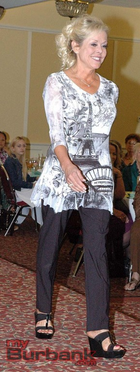 Susan Fekety models an item from Draper's & Damon's at the Foothill Civitan fashion show luncheon. (Photos by Joyce Rudolph)
