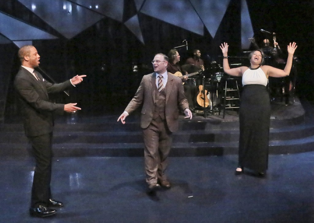 """Elijah Rock, Jake Broder and Angela Teek star in the Colony Theatre Company production of """"WORDS BY IRA GERSHWIN,"""" by Joseph Vass, directed by David Ellenstein and now playing at the COLONY THEATRE in Burbank (Photo courtesy  Michael Lamont)"""