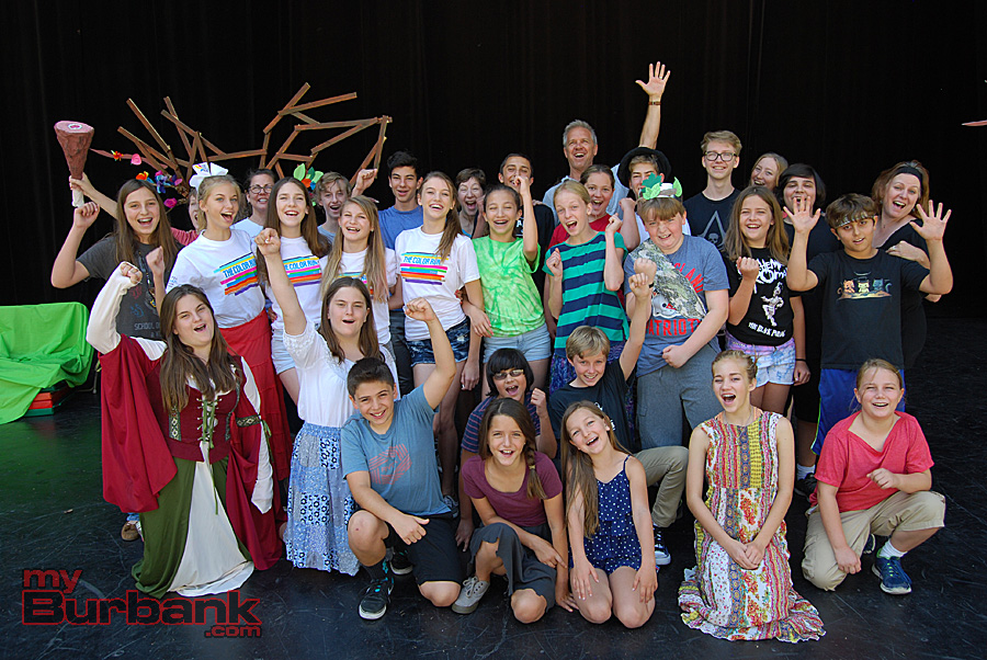 "Burbank Summer Youth Theatre Institute 2015 presents Shakespeare's ""As You Like It."" (from left to right, back to front) Back Row - Harrison Rothacher, Beth Morrison (Production Designer), William Rodriguez, Jonah Ring, Lisa Dyson (Artistic Director/Director), Louie Zekowski, David Prather (Associate Director), Ophelia Morris, Adin Ring, Harry Miller (Intern), Susie Miller (Prop Master), Matthew Molaro, Crystal Robbins (Associate Director.) Third Row- Eyen Paredes, Addie Miller, Olivia Flosi, Alexa Klohn, Julia Skillsky, Siena Lopez, Abby Griffith, Colin Lee, Gemma Maginnis, Harry Zekowski. Second Row- Shayna Gerard, Jaden Gerard, Peter Molaro, Jarek Czerwinski. First Row - Billy Mansoorian, Charlotte Hopkins, Ella Morris Phoebe Kellogg, Cassius Clay-Harris. (Photo By Lisa Paredes)"