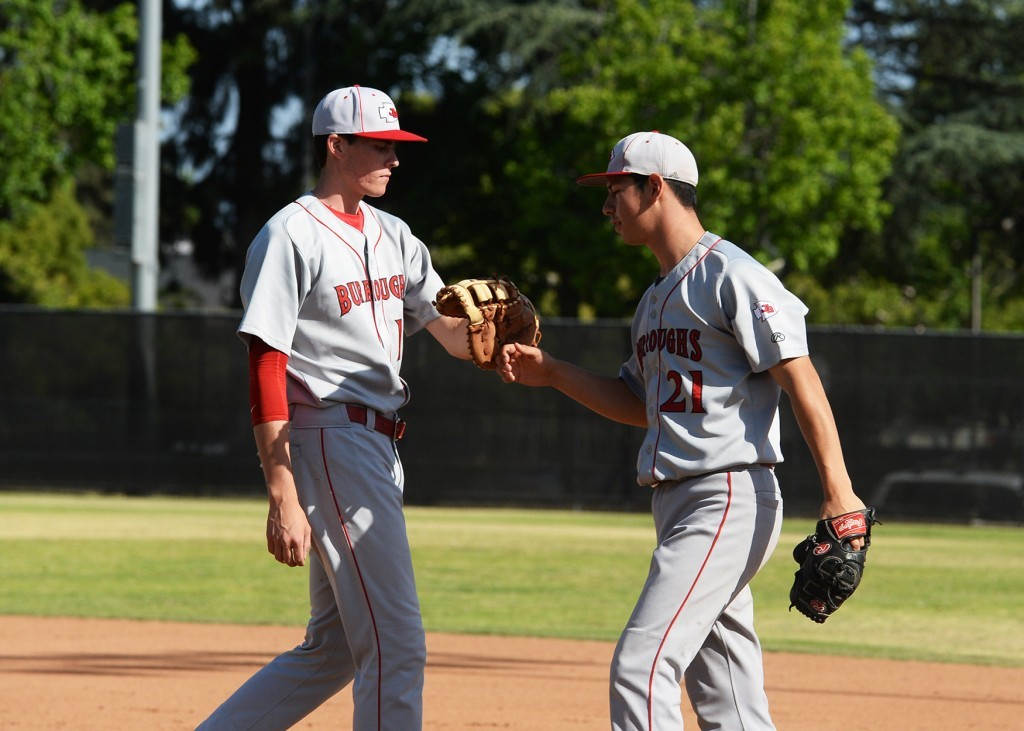 Burroughs' Thomas Wilson (left) and Danny Bustos formed the best pitching duo in CIF Division 2 this season (Photo courtesy of Mitch Haddad)