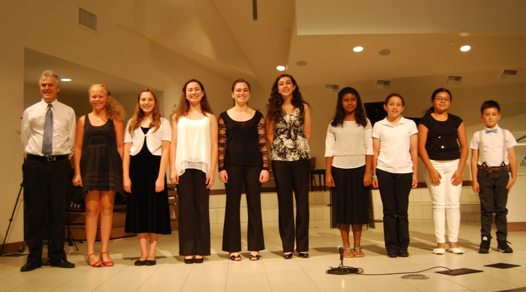 L.A. Phil Concertmaster Martin Chalifour, Ella Jennings, Eyen Paredes, Maya Paredes, Sarah Worden, Veronica Mansour, Avanti Jimenez, Stephanie Wilson, Natalie Perez and Evan Lanier performed at ETM-LA's Summer Music Soiree in Burbank. (from left to right)