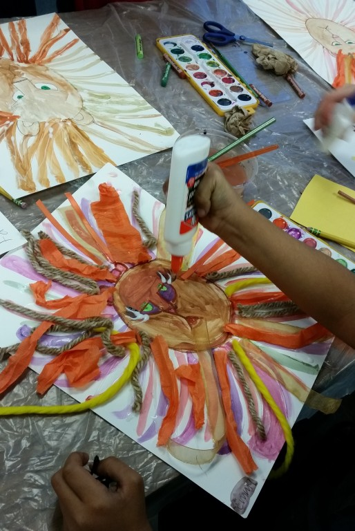 Mixed media lion elementary school project inspired by Henri Matisse collage art. (Photo Courtesy of Gorilla Art Studio)