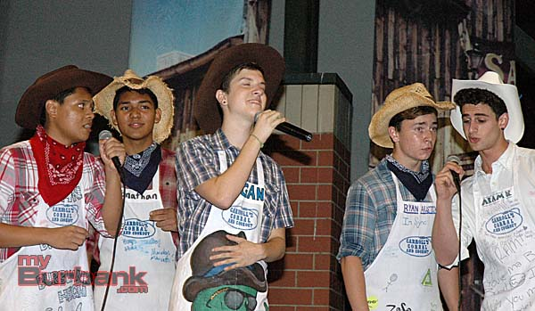 Entertaining family and friends are, from left, John Briones, Jonathan Zepeda, Logan Shea, Ryan Austin and Aram Krakirian during the Burbank High School Vocal Music Assn. fundraiser (Photo By Joyce Rudolph)