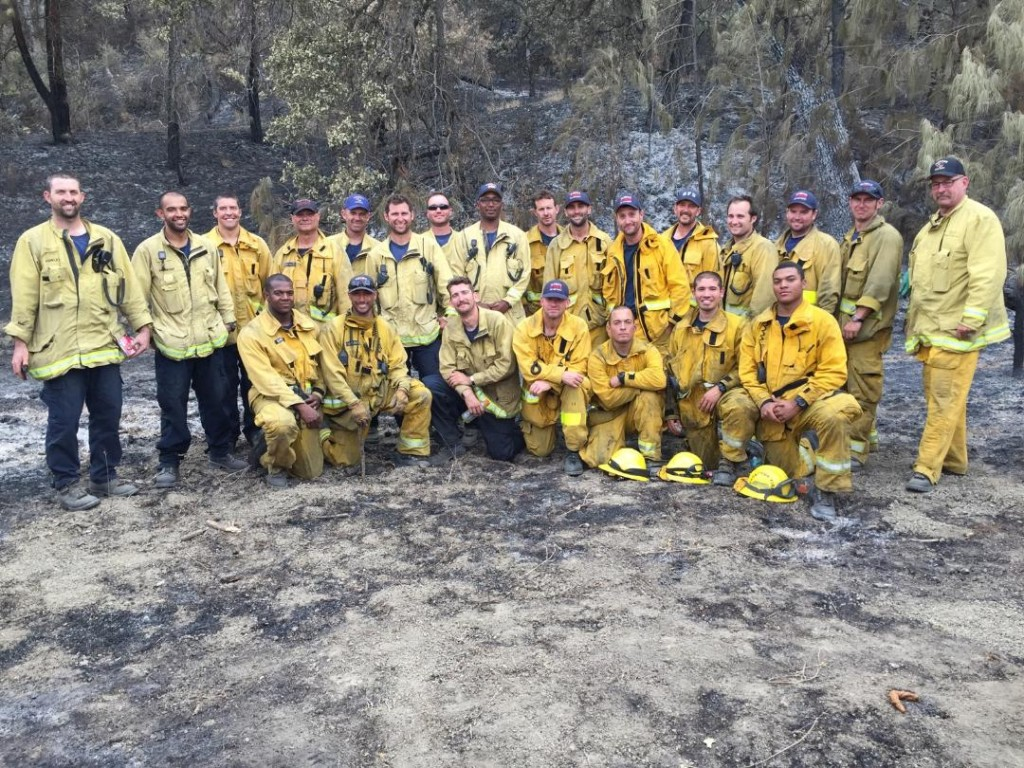 "Verdugo Strike Team (Strike Team 1203A) made up of Burbank, Glendale and Pasadena units at the ""Rocky Fire"" in northern California (Photo Courtesy of Batallion Chief Jeffrey Howe)"