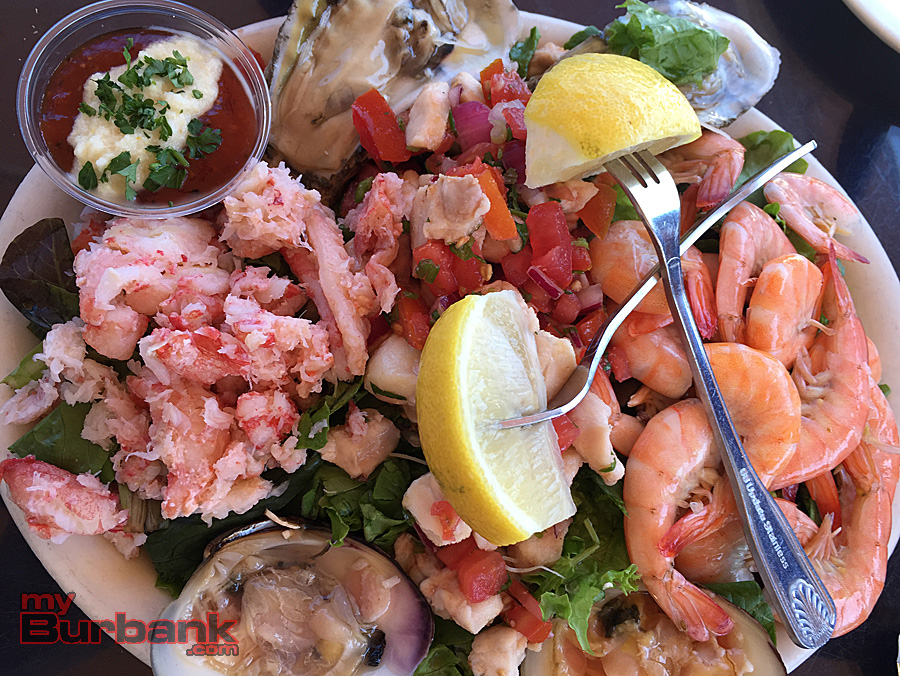 Brophy Bros. cold seafood combo plate. (Photo By Lisa Paredes)