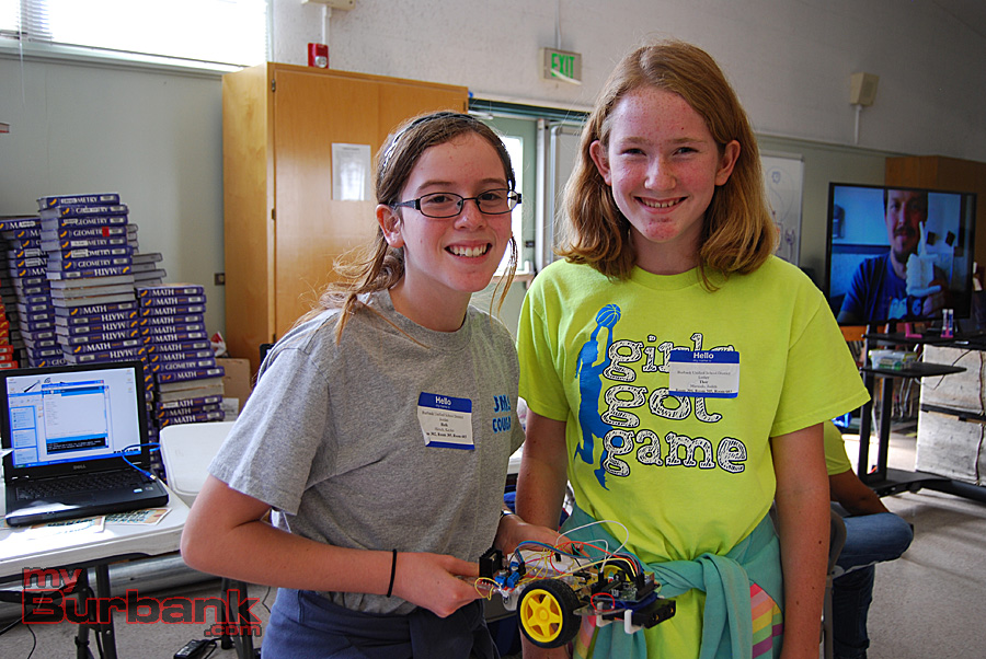 Jordan sixth-grader Kaylee Hirsch and Luther sixth-grader Judith Marando coded their robotic car's movements. (Photo By Lisa Paredes)