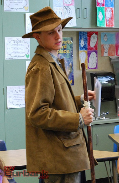 Griffin Dooley portrayed naturalist John Muir for the Time Travelers program at McKinley Elementary. (Photo By Lisa Paredes)