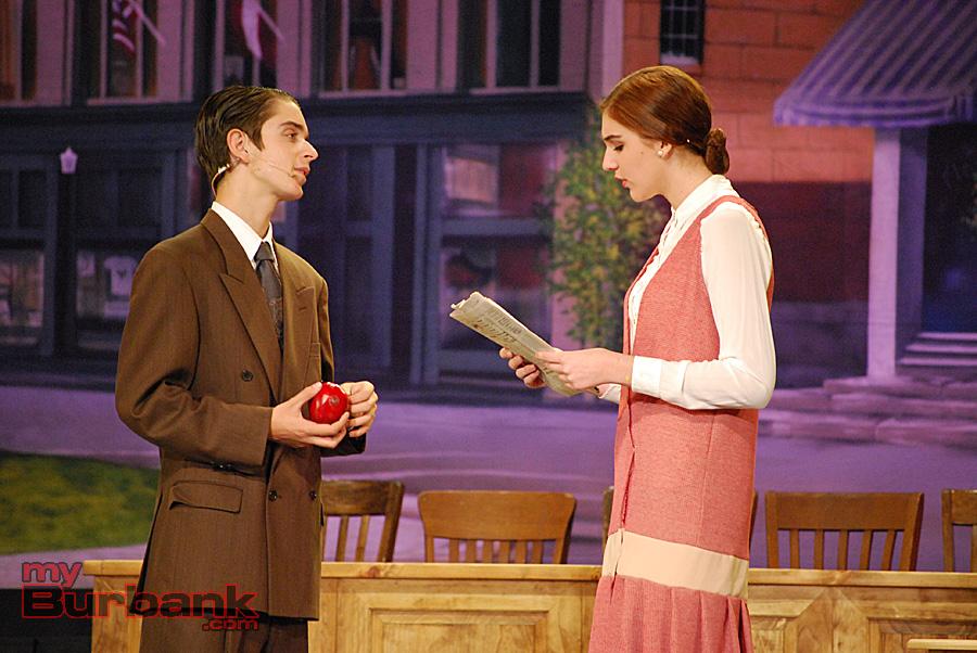 "Matt Bond (E.K. Hornbeck) and Madison Mayer (Rachel Brown) in a scene form ""Inherit The Wind.""(Photo By Lisa Paredes)"