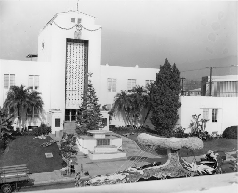 Christmas Tree in front of City Hall with the Burbank Rose Float - 1965