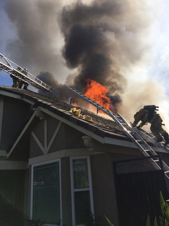 House fire on E. Angeleno (Photo Courtesy Burbank Fire Department)