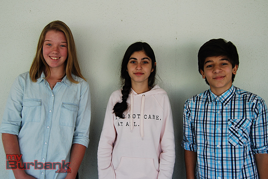 "Muir Middle School seveth-graders Nora Fulup, Fima Kaoumi and Mishel Hartooni all enjoyed the process of creating ""Homeland: Poetry In Performance."" (from left to right) (Photo By Lisa Paredes)"