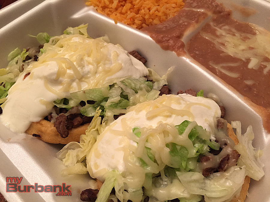 Carne Asada Sopes with rice and beans at Taqueria El Tapatio Burbank. (Photo By Lisa Paredes)