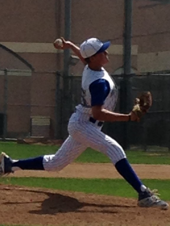 Garrett Dolan pitching for Burbank High.