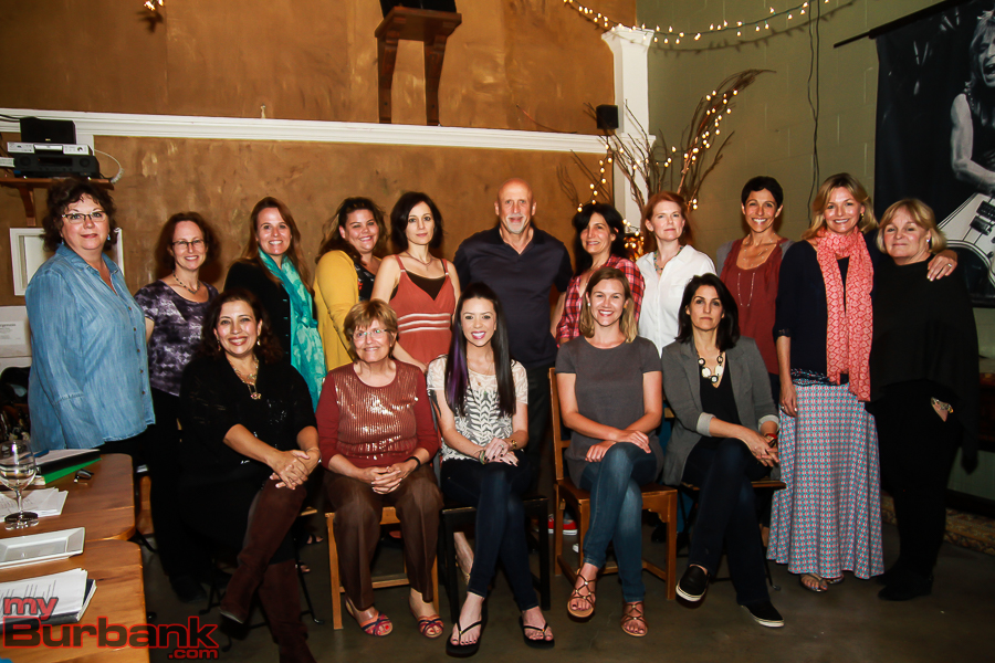 Front Row: Juanita Mantz, Pat Willson, Ashley Alteman, Joanna Peresie, Courtney Crane. Back Row: Co-Director/Producer Taia Perry, Pam Bassuk, Lori Pacino, Angela Riggs, Hedia Anvar, Richard Donatone, Ellen Ancui, Shari Wendt, Suzanne Skrabak, Co-Director/Producer Suzanne Weerts, Family Service Agency's Laurie Bleick. (Photo by © Ross A. Benson)