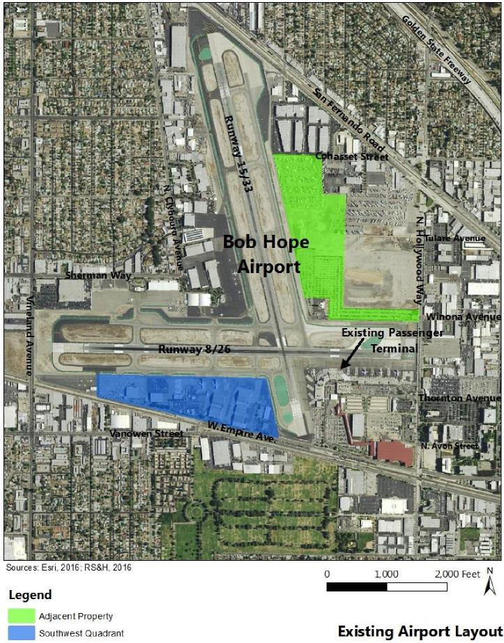 The DEIR examined three development options to replace the existing passenger terminal. The preferred option is a 355,000-square-foot, 14-gate Replacement Terminal on the B-6 Adjacent Property, the site indicated in green