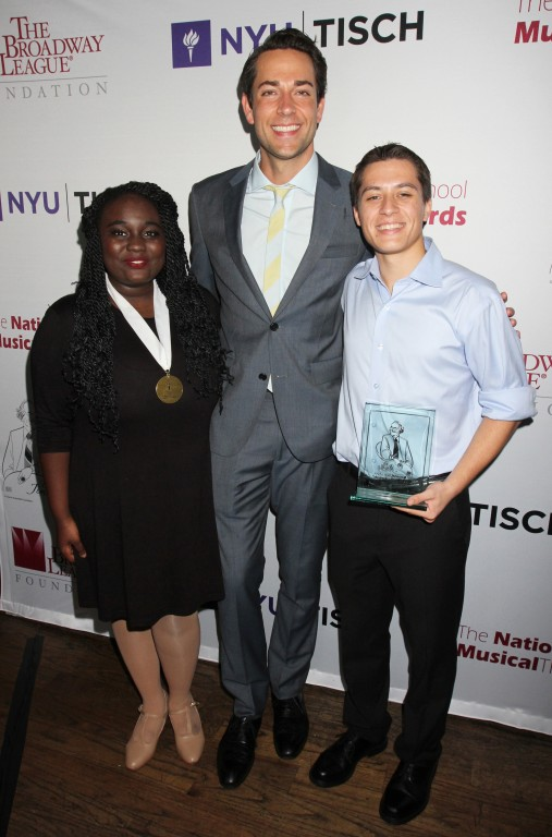 Best Actress Amina Faye, host Zachary Levi and Best Actor Josh Strobl at the 2016 National High School Musical Theatre Awards After-Party at John's Pizzeria in New York City on June 27, 2016.  Photo Courtesy of Henry McGee