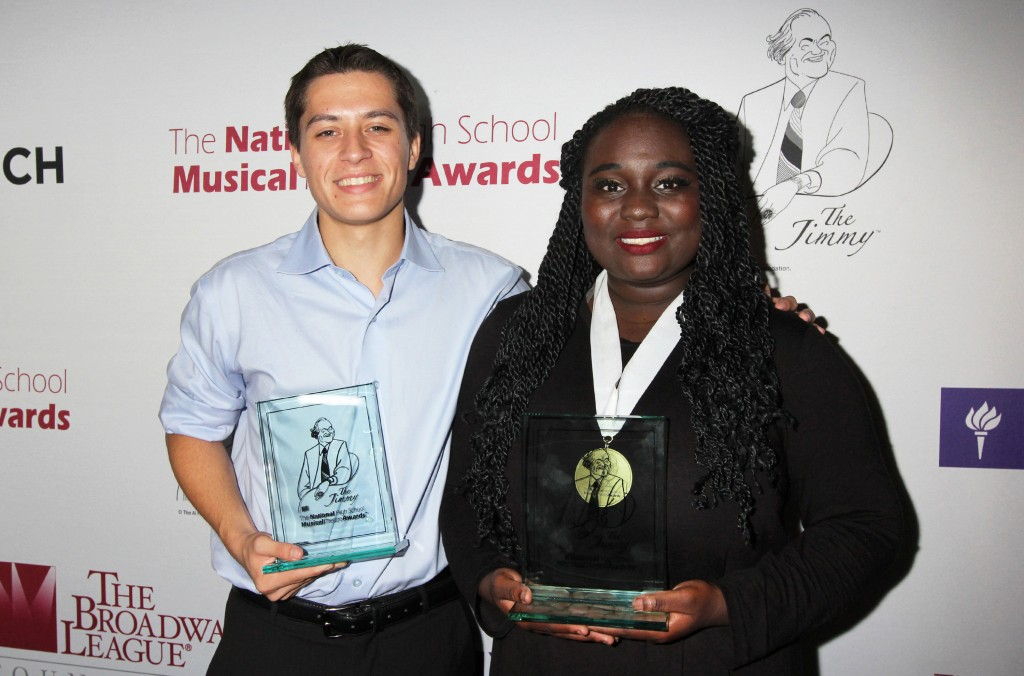 Best Actor Josh Strobl and Best Actress Amina Faye at the 2016 National High School Musical Theatre Awards After-Party at John's Pizzeria in New York City on June 27, 2016.  Photo Courtesy of Henry McGee