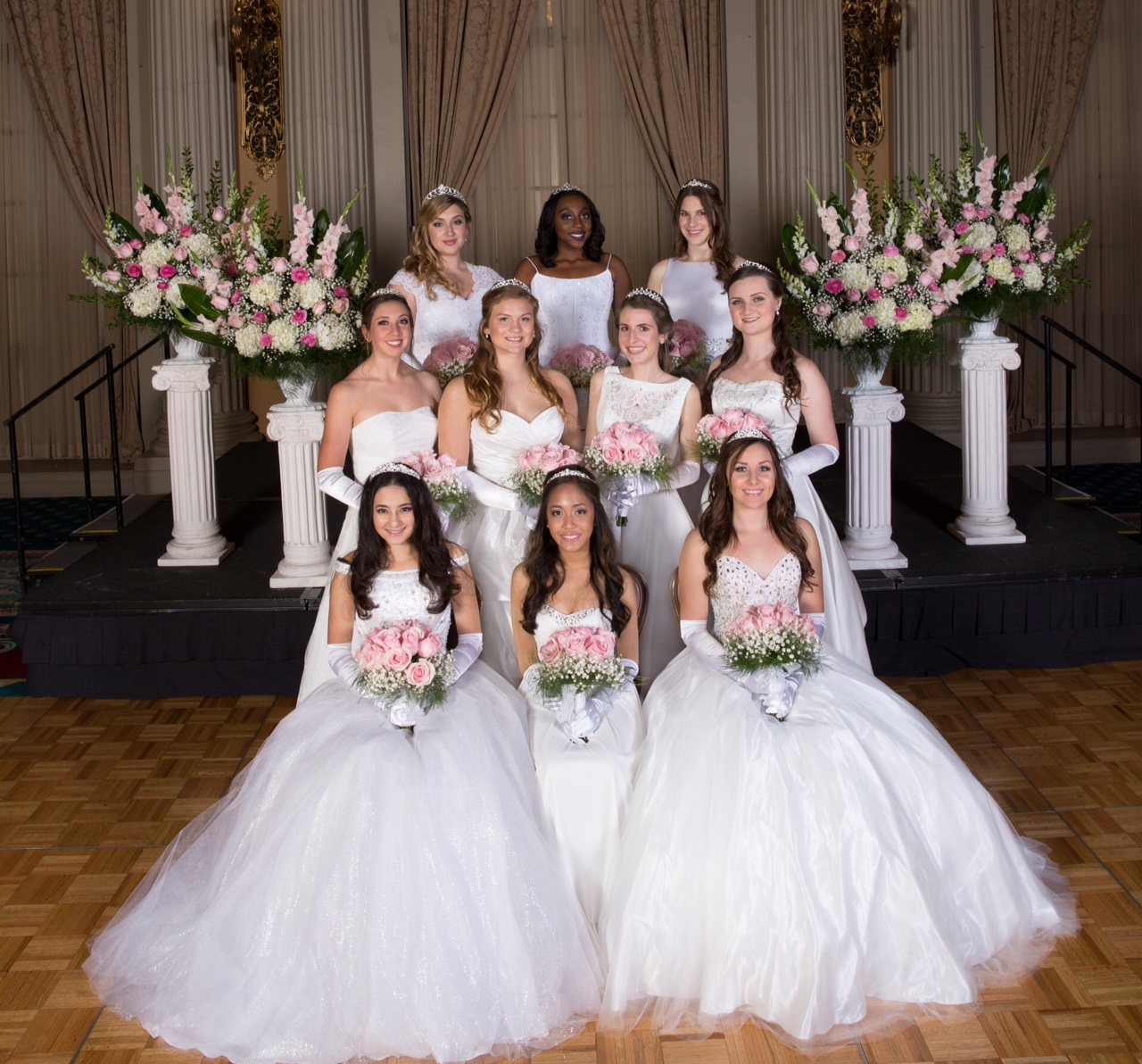 National Charity League's graduating Ticktockers are, front row from left,  Natalie Sardarov, Charlotte Duldulao and Alyssa Magoon; middle row from left, McKenna Sandoval, Kate Wilke, Gabby Crispi and Zoe Kelman; and back row from left, Aimee Snow, Lelosa Aimufua and Kelly Kaufman. (Courtesy Gilmore Studios)