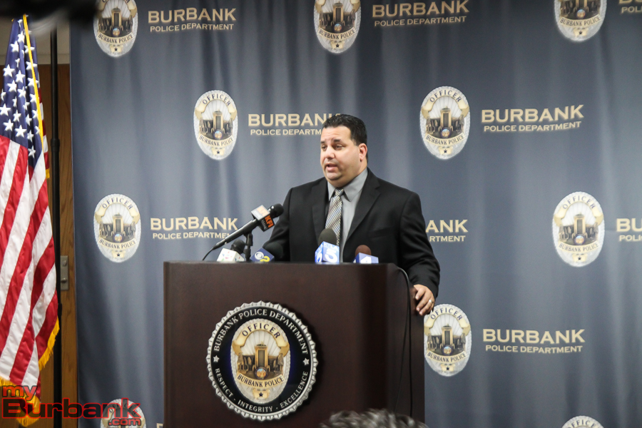 Sergeant Claudio Losacco, Public Information Officer for the Burbank Police Department briefs the media Wednesday morning (Photo By Ross A. Benson)