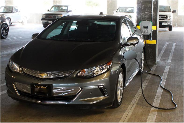 An electric vehicle charges, using one of the Siemens VersiCharge Level 2 Plug-In Electric Vehicle (PEV) charging stations in the Hollywood Burbank Airport's Valet parking garage. The charging stations were installed by the Burbank Water and Power Department (Photo Courtesy Hollywood Burbank Airport)