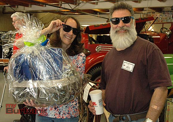 Photographer Bonnie Burrow won a prize basket and shared a pair of sunglasses with Burbank Historical Society docent Charles Zembillas during the Member Appreciation Day