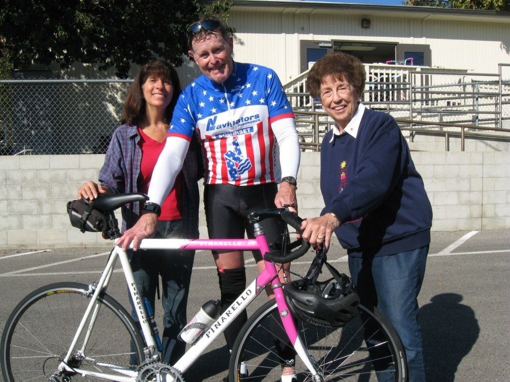 "L to R - Elaine Pease, Chairman of the ""Bike Angels "" Doug Remington , Major Bike Donor, and Elaine Paonessa, ""Angel Tree"" Coordinator (Picture courtesy of Elaine Paonessa)"