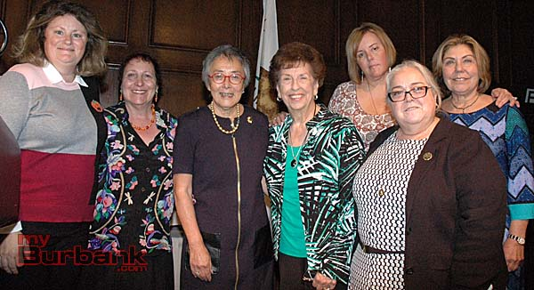 Past Women of the Year, from left, Shanna Warren, Janet Diel, Sen. Carol Liu, Elaine Paonessa, Jamie Keyser Thomas, Barbara Howell and Lucy Burghdorf.