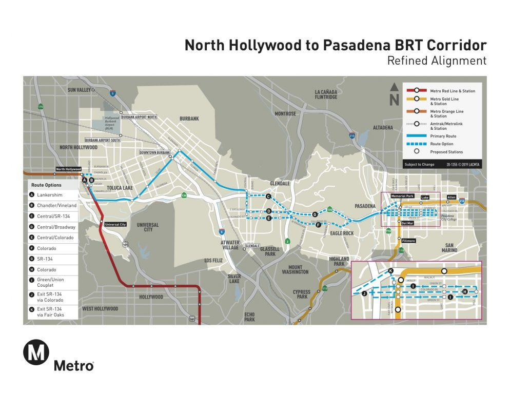 north hollywood to pasadena bus rapid transit